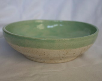Small Bowl in Sea Salt and Turquoise (textured off white and light green)