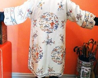 Antique Embroidered Coat Chinese Silk  Circa 1900 Forbidden Stitch