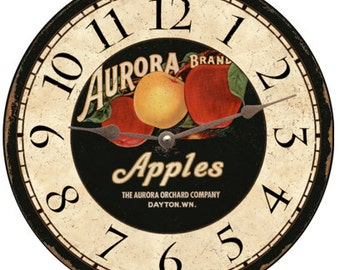 Rustic Apple Clock- Apple Wall Clocks
