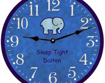 Nursery Clock- Baby Boy Clock- Personalized Wall Clock