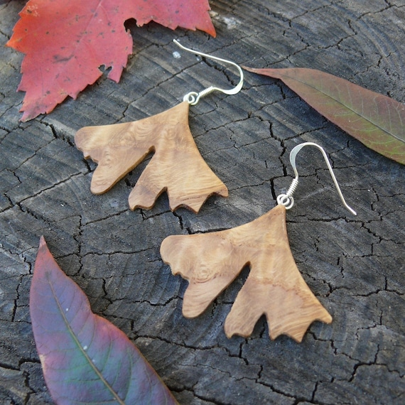 Ginkgo Leaf earrings, Natural Wood Earrings, Leaf earrings, Boho Earthy earrings, Sterling Silver Leaf earrings, Wooden accessories, Nature