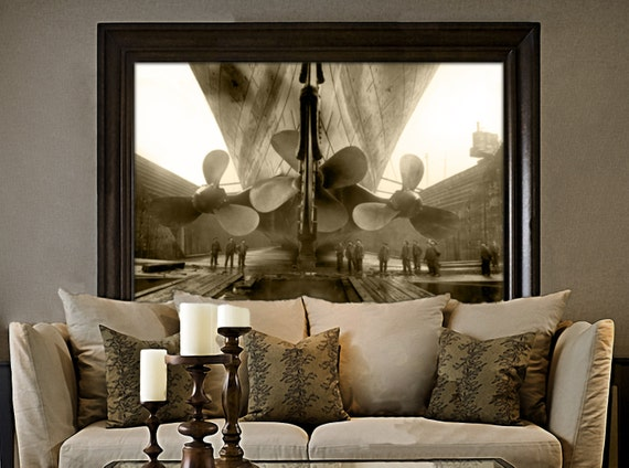 Titanic Photo 1911 RMS old Titanic Propellers Industrial Ship Photo Amazing Black & White Ship Steamship steampunk Old Photograph art print