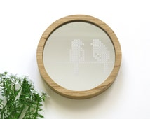 Round wooden mirror // Leaves Cross stitch pattern // Acrylic  mirror // Rustic Boho style // Natural wood wall mirror // Decorative mirror