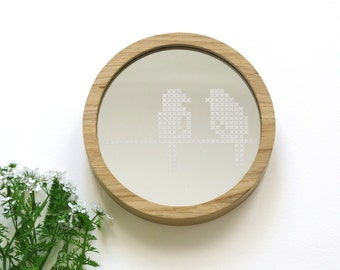 round wooden mirror leaves cross stitch pattern acrylic mirror rustic boho style natural wood wall mirror decorative mirror