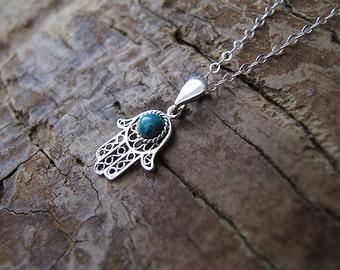 Hamsa necklace, Silver hamsa, Silver necklaces, eilat stone necklace, hamsa hand, Hand necklace, protection necklace