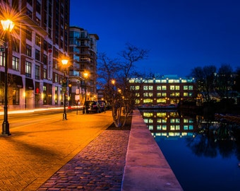 Canal along a street at night in Baltimore, Maryland. | Photo Print, Stretched Canvas, or Metal Print.