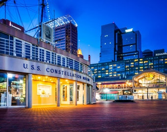 USS Constellation Museum & Pratt Street Pavilion, Inner Harbor, Baltimore, Maryland. | Photo Print, Stretched Canvas, or Metal Print.