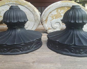 Two, 2, vintage black painted sconces.