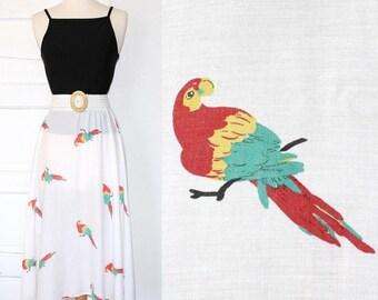 70s 80s novelty parrot circle skirt - xxs xs small medium
