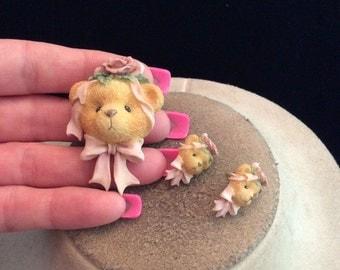 Vintage Floral Teddy Bear Pin & Stud Earring Set