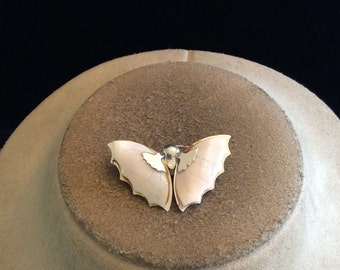 Vintage Pale Pink Glass Winged Butterfly Pin