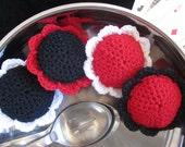 4 Scour Flower Set, Crochet Dish Scrubbie Pad, Pot Scrubber, Kitchen, Bathroom, Household Cleaning, Nylon Mesh Netting, Casino collection