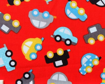 50x110CM Ready Steady Go - Red Cars Designed by Ann Kelle for Robert Kaufman Designer Cotton Print Fabric (SC005)