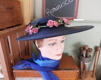 Vintage Hat Wide Brim Flowers Netting