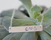 Be Happy Necklace, Stamped Silver Bar Necklace, Peace Love Smile Necklace, Inspirational Jewelry, Inspire Jewelry, Motivation Necklace