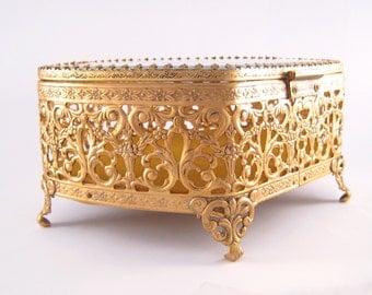 Gold Jewelry Box Vintage Ormolu Box Jewellery Casket Filigree Trinket Box