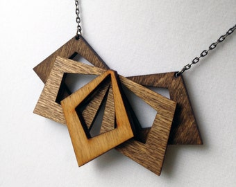 Wood Statement Necklace -Laser Cut Jewelry, Lightweight Jewelry, Wood Necklace, Bohemian , Gift for Women, Natural Jewelry, Joanna Gaines