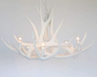 Bright White Antler Chandelier | D6 Faux Antler Chandelier | Antler Chandelier | Antler Lighting | White Antler Chandelier