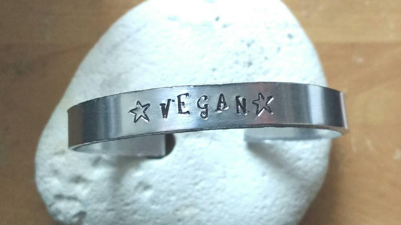 Vegan stars word bracelet -unisex - adjustable - handstamped