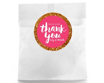 Glitter Wedding Favor Stickers - Personalized Wedding Favor Labels - Wedding Favor Labels - Thank you stickers - Welcome Bag Labels