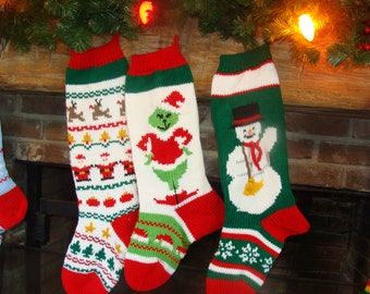 Hand Knit Christmas Stocking with Sweater Pattern, Grinch, Snowman