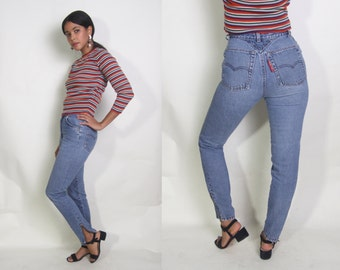 Vintage 80s Levis High Waist Skinny Blue Jeans Denim Pants Zipper Ankled