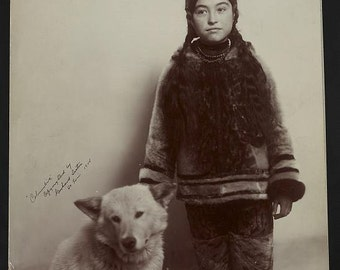Eskimo Girl with her pet dog, Early 1900's, Photo Print