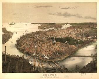 Boston, Mass, 1890's, Old Map Print, Town View,  Photo Print