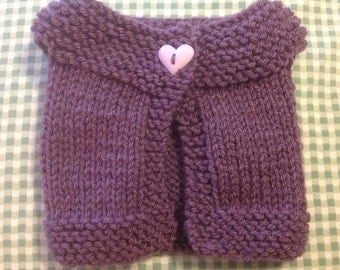 """Hand Knit Cardigan Sweater in Purple with Heart Button - 18"""" Doll"""