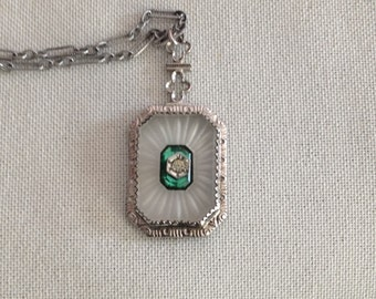 Antique Deco Rhodium Camphor Glass Necklace Pendant with Faceted Green Glass and Raised Set Rhinestone center on paperclip chain