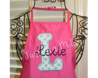Personalized Apron-Great for Art Party or Cooking Birthday-Baking Apron-Birthday Apron-Initial Applique FREE MONOGRAM