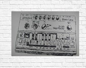 gift for men: illustration Roland TB-303, A piece of art for real lovers and true nostalgics!