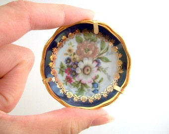 Limoges Plate, Decorative Plate, Miniature Plate, Mini Plate, Floral Plate Flower Print Plate, Tiny Plate Small Limoges Plate, Plate & Stand