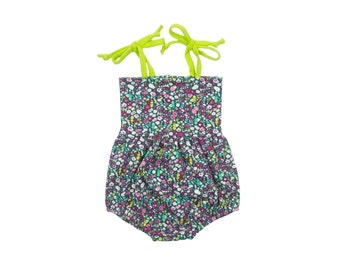 Bubble Romper, Sunsuit, Baby Bubble Romper, Toddler Bubble Romper, Baby Sunsuit, Toddler Sunsuit, Girls Romper in Belle Fleur Floral