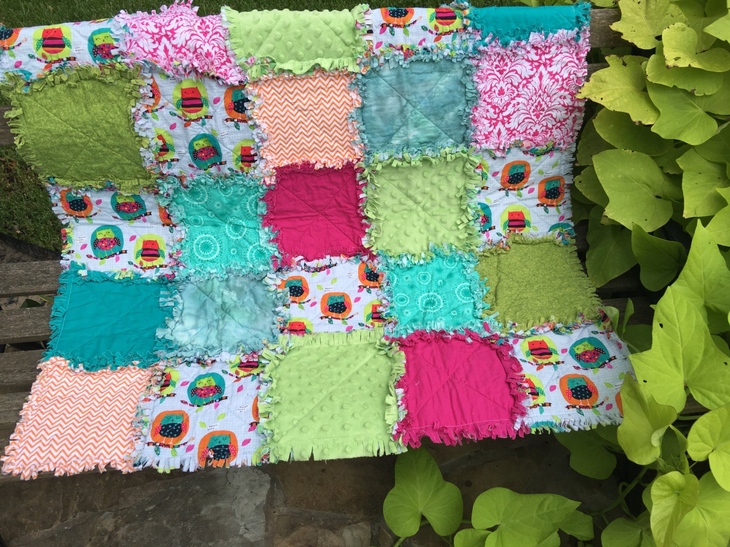 Rag Quilt Owl Pattern : Owl rag quilt owl baby blanket pink yellow by BlueSheepBoutique