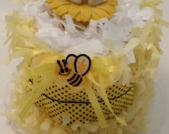 Bumble Bee Baby Shower Diaper Cake Centerpiece Decoration Cake Topper Centerpiece