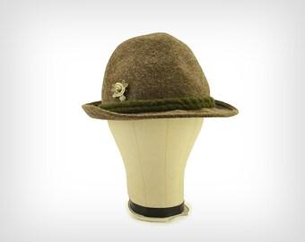 50s Hat // 1950's Austrian Olive Wool Felt Hat w/ Braided Trim & Pin // Oktoberfest Hat