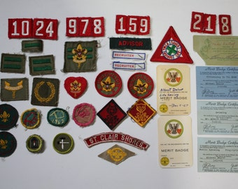 Vintage Rare 1960's Boy Scout Merit Badge Certificate and Patch Collection Life Scout