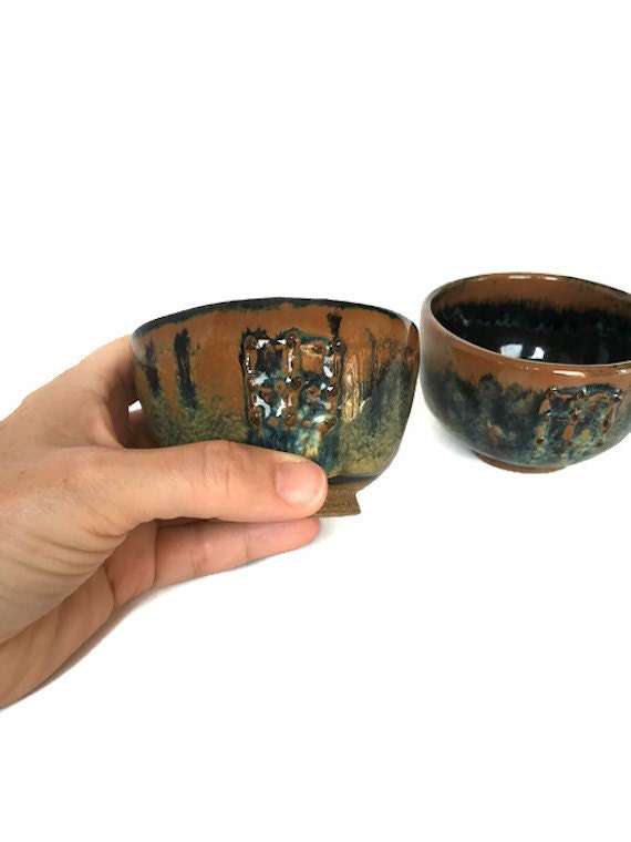Vintage Japanese sake cup handmade pottery cups set of asian drinking vessels