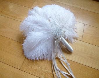 Reduced Bride Version WHITE Ostrich feather beaded fan bridal bouquet - Pearl silver bead spray - CHAMPAGNE  trim altenerative beach Wedding