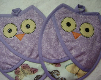 Lavender Owl Potholders, Owl Hot Pads, Owl Oven Mitts, Who Owl Potholders, Pot Holders