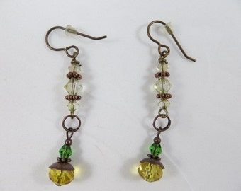 Green And Cantaluope Crystals On Brass Earrings