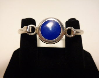Blue Lapis Lazuli Stone 925 Sterling Silver Hinge Cuff Bracelet