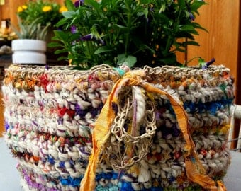 Handmade Oatmeal Tweed-Variegated Wool Crochet Basket With Multi-Colored Recycled Silk Sari Stripes, Hemp Chain Border and Fringe Detail