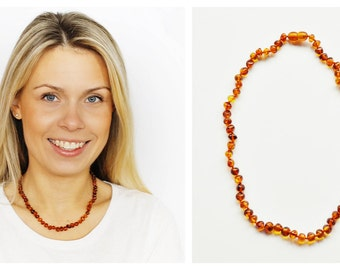 Baltic amber beads necklace Bead necklace Amber necklace Adult necklace Baroque shape beads Adult necklace Woman necklace Amber beads Gift