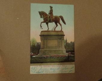 1907 Washington Statue Boston Mass Postcard Free Shipping