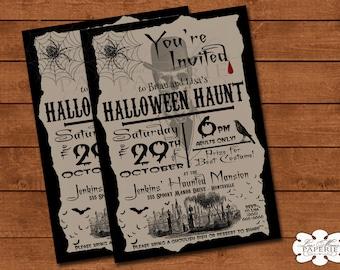 halloween invitation, vintage halloween digital invite, haunted house party invitation, halloween party invite - DIY PRINTABLE