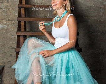 Blue tulle skirt Long tulle skirt Tulle bridal skirt Tulle Bridesmaid tulle skirt Women Wedding skirt Engagement skirt CUSTOM COLOR / LENGTH