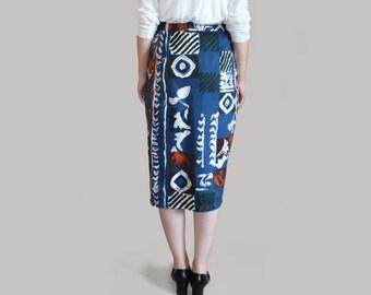80s high waisted pencil skirt Blue skirt Geometric skirt Knee lentgh 80s clothing