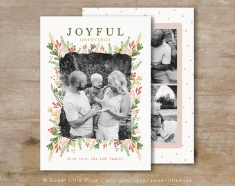 Christmas Card template - Holiday card template - Floral Christmas Card Template - Christmas Cards